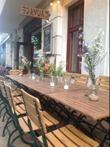 Outdoor tables at Sauvage restaurant