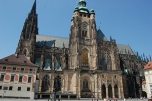 Golden detailing on side of St Vitus Cathedral