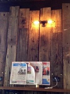 Upcycled wooden boards in North Fitzroy Social